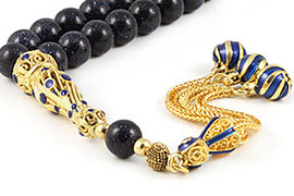Blue Goldstone Prayer Beads