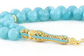 Blue Jade Prayer Beads
