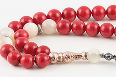 Coral & Mother of Pearl Prayer Beads