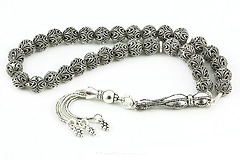 Oxidized Silver Prayer Beads