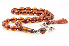 Fire Amber Prayer Beads
