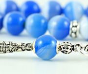 Blue Banded Agate Prayer Beads